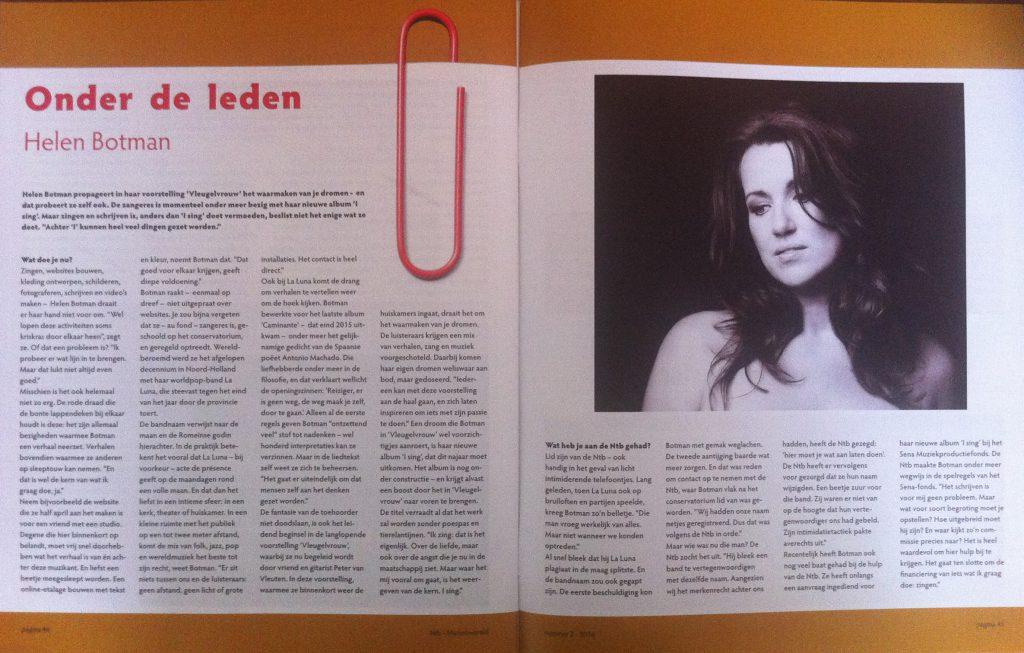 Muziekwereld - interview met zangeres Helen Botman voor het NTB-magazine, item Onder de leden, door Jeroen Akkermans