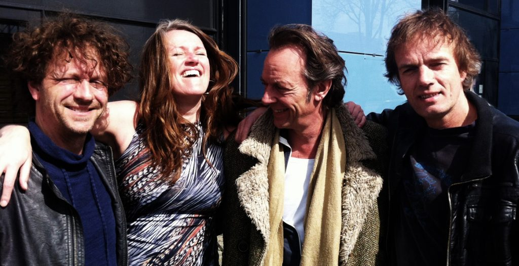 Repeteren voor 'I Sing' tour (vlnr: Rob Stoop, Helen Botman, Ton Nieuwenhuizen, Arthur Lijten)
