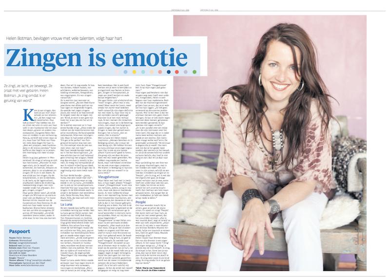 Zingen is emotie | NHD Bijlage | Interview Marja van Spaandonk